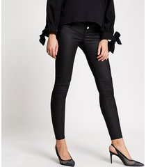 river island womens black coated molly overbump maternity jegging