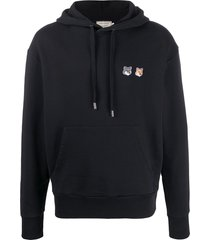 maison kitsuné double fox head hoodie - black