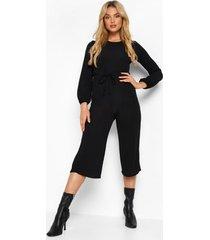 baggy culotte jumpsuit met lange mouwen, black