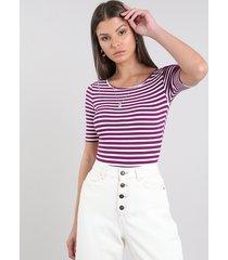 body feminino básico listrado com vazado manga curta decote redondo roxo