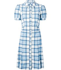 prada pre-owned 2000's checked flared dress - blue