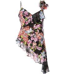 josie natori hokkaido blossom embroidered blouse - black