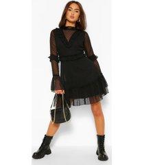 dobby mesh frill neck detail skater dress, black