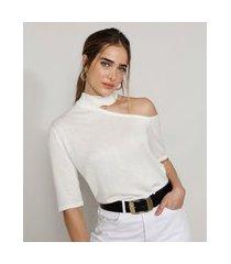 blusa de tricô feminina mindset assimétrica com vazado manga curta gola alta off white