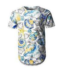 camiseta masculina longline swag fundo do mar vintage