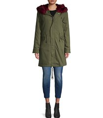 3-in-1 faux fur-lined cotton parka