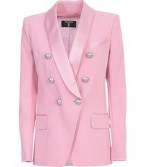 balmain oversized 6 btn satin lapel crepe jacket