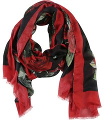 dolce & gabbana all-over rose print scarf