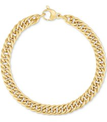 fancy link wide bracelet in 14k gold