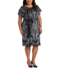 r & m richards plus size sequined sheath dress