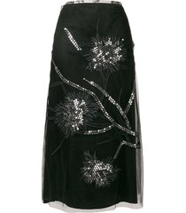 a.n.g.e.l.o. vintage cult sequin embroidery a-line skirt - black