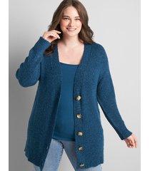lane bryant women's drop-shoulder button-front cardigan 22/24 legion blue