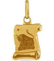ciondolo in oro giallo pergamena segno zodiacale toro per unisex