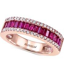 effy ruby (1 ct. t.w.) and diamond (1/5 ct. t.w.) ring in 14k rose gold