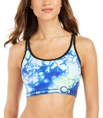 calvin klein performance tie-dyed strappy low-impact sports bra
