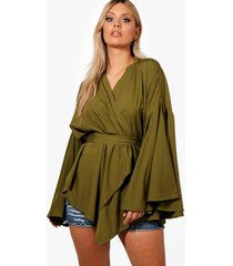 plus extreme sleeve wrap front tie top, khaki