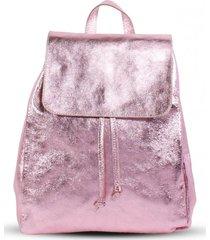 mochila cuero glitter rosada mailea
