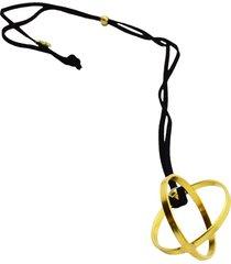 collar de mujer oro pendente geometrico sfera brass colection by vestopazzo