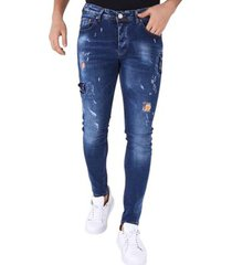 skinny jeans true rise stoere jeans paint drops b