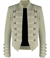 balmain long-sleeve military jacket - green
