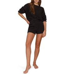 women's reformation cort ribbed organic cotton pullover & shorts, size medium - black