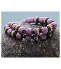 ceramic beaded bracelet, 'amazon orchid' (peru)
