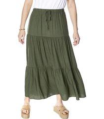 falda corte vuelos verde mujer corona