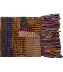the elder statesman striped fringe cashmere scarf - purple