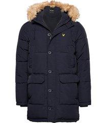 heavyweight longline puffer jacket gevoerd jack blauw lyle & scott