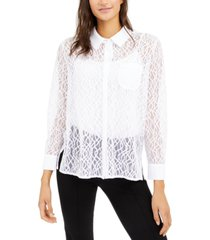 alfani petite lace shirt, created for macy's