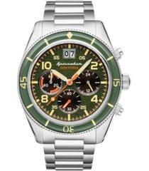 spinnaker men's fleuss chrono silver-tone stainless steel bracelet watch 43mm