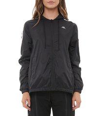 kappa women's 222 banda dawyn zip-front training jacket - black - size xl