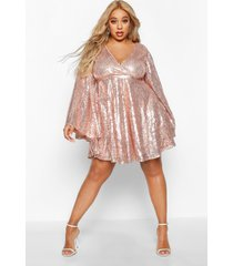 plus sequin wide sleeve ruffle skater dress, gold