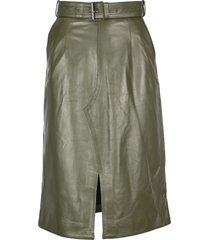 marni leather mid skirt