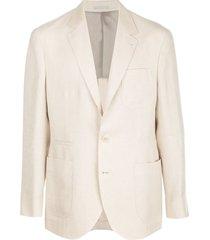 brunello cucinelli straight-fit blazer - neutrals