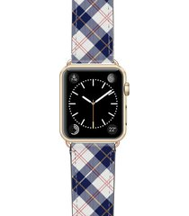 casetify call me navy saffiano faux leather apple watch strap