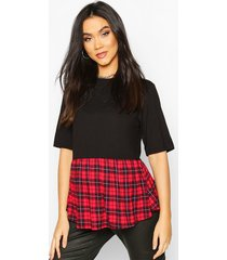 maternity contrast flannel smock top, red