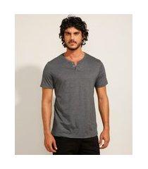 camiseta masculina básica manga curta gola portuguesa cinza mescla escuro