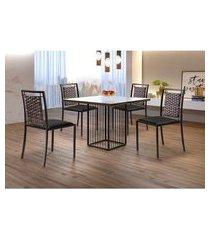 conjunto de mesa de jantar hera com tampo de vidro mocaccino e 4 cadeiras grécia i couríssimo preto e café
