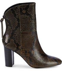 snakeskin-embossed leather bootie