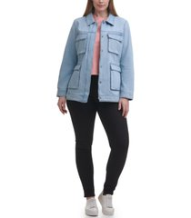 levi's trendy plus size mid-weight cotton belted shirt jacket