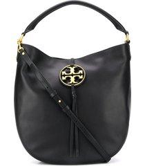 tory burch miller metal-logo slouchy hobo bag - black