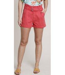 short de sarja feminino clochard com cinto barra dobrada rosa escuro