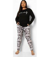 plus zebraprint homebody pyjama set met lange mouwen, black