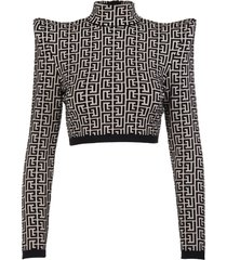 balmain short top in two-tone jacquard with monogram and structured straps