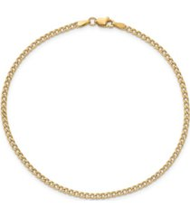 curb link chain anklet in 14k yellow gold