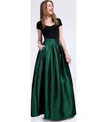 grace emerald green a line long ruffle skirt taffeta high waist with pocket-43in