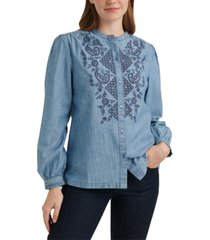 lucky brand the poet cotton eyelet shirt