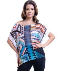 blusa 101 resort wear poncho decote cavado crepe geometricoestampado