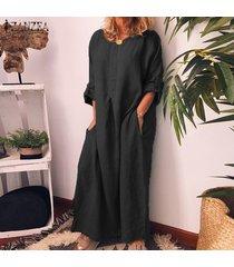 zanzea mujer de la manga larga de algodón vestido de las señoras kaftan floja ocasional de los vestidos largos maxis -negro